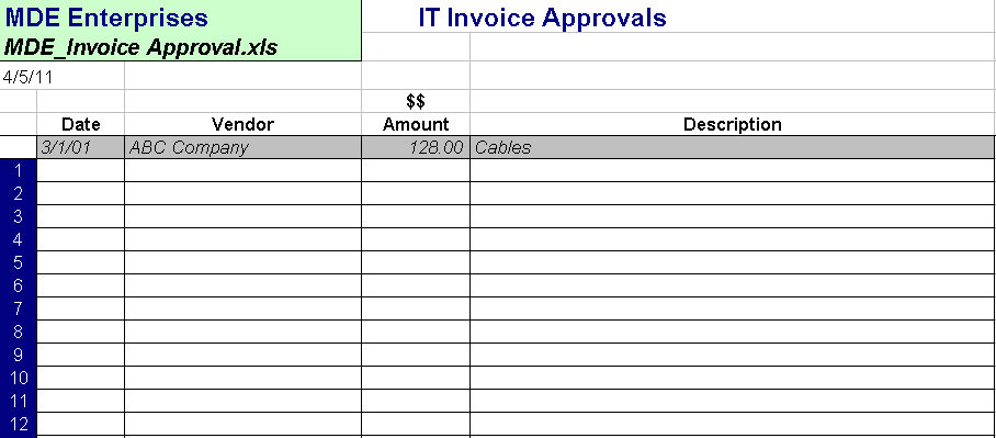 Approved Invoice Log Itlever