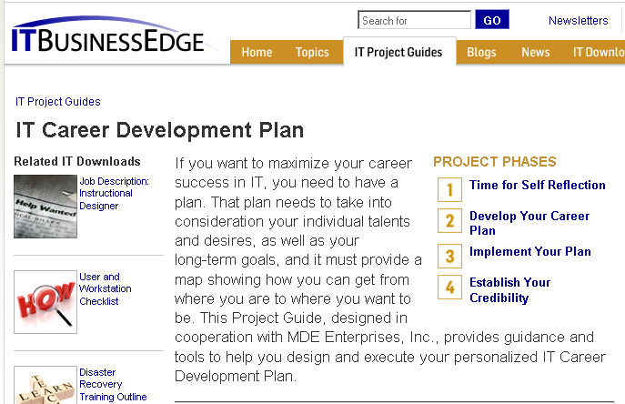 My IT Career Development Plan is one of the first ITBE Project Guides (1/5)