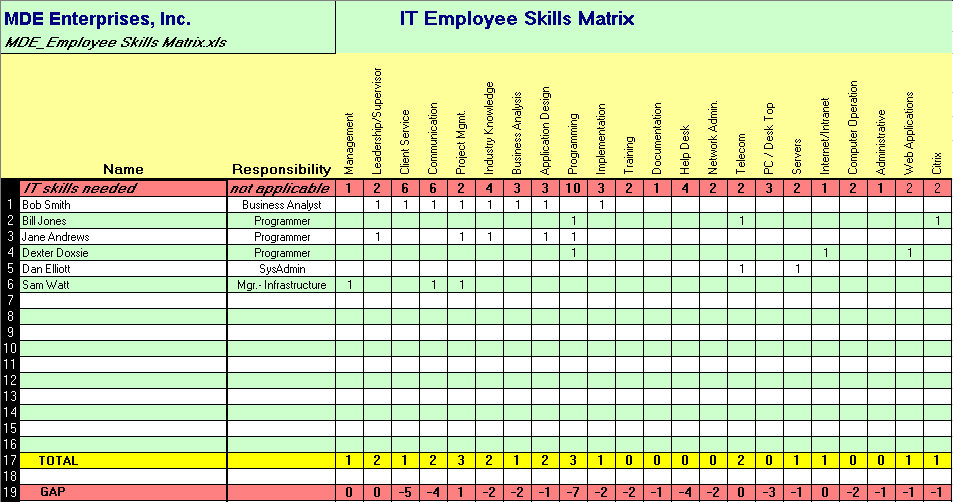 it skills matrix template excel