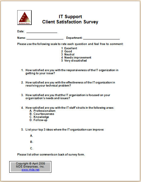 IT Support Survey